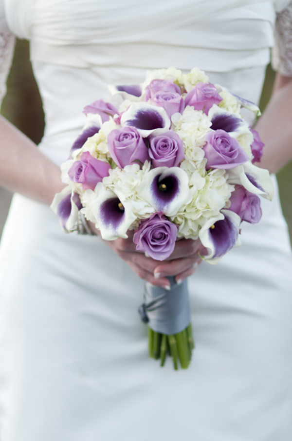 Lavender Purple White Bridesmaids Bouquet