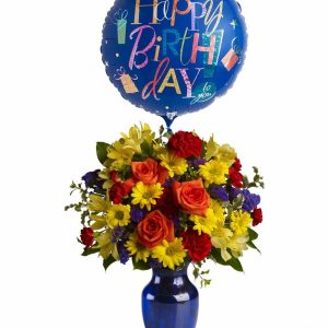 Birthday Flowers with Balloon