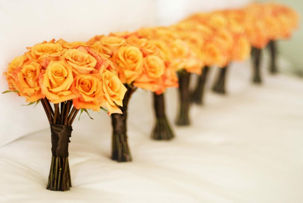Orange Rose Bridesmaids Bouquet