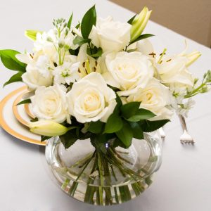 White Rose Wedding Centerpiece